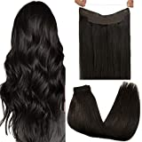 GOO GOO Hair Extensions 18 Inch Halo Hair Extensions Dark Brown 80g Ombre Flip Hair Extensions Hidden Crown Wire Hair Extensions with Transparent Fish Line Invisible Hairpiece