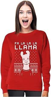 FA La La Llama Ugly Christmas Sweater Funny Xmas Women Sweatshirt with Xmas Prop