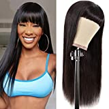 Straight Human Hair Wigs with Bangs 150% Density Non Lace Front wigs Human Hair For Black Women Glueless Machine Made Brazilian Remy Hair Wigs Natural Black(20inch)