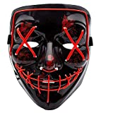 Halloween Scary Mask LED Light Up Mask Cosplay Frightening Wire Creepy Costume Mask for Halloween Festival Parties Red
