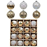 Valery Madelyn 16ct 80mm Christmas Ball Ornaments White Gold, Large Shatterproof Plastic Christmas Tree Ornaments Bulk Xmas Decorations Home Decor, Themed with Tree Skirt (Not Included)