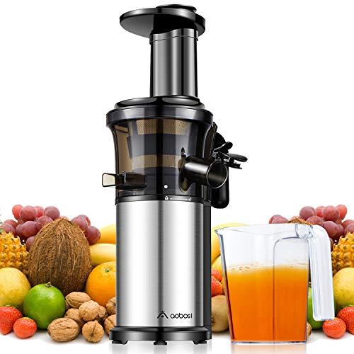 Aobosi Slow Juicer Licuadora para Fruta y Verdura de Prensado en Frio Extractor de Jugos para Fruta Entera con Baja Velocidad de 45RPM Tapa Antigoteo Sin BPA Incluye Frascos y Cepillo