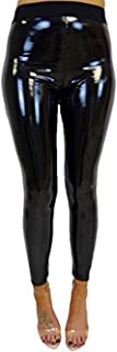 Women's Faux Leather Wet Look Shiny Metallic High Waist Legging Pants Trousers
