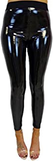 Women's Faux Leather Wet Look Shiny Metallic High Waist Legging Pants Trousers