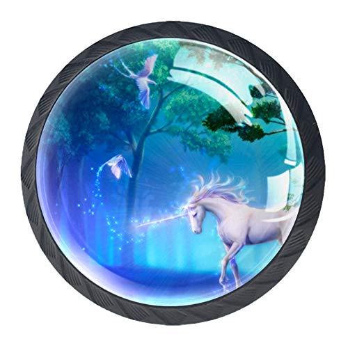 4 pomos de cristal para armario de 30 mm, tiradores de cristal para cajones de cocina, baño, animales de unicornio