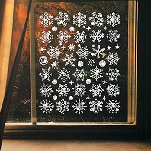 N\A Pegatinas de Pared electrostáticas de Copo de Nieve de Navidad Pegatinas de Pared de Ventana de Vidrio Pegatinas de Puerta Varios Estilos de Pegatinas de decoración de Copo de Nieve