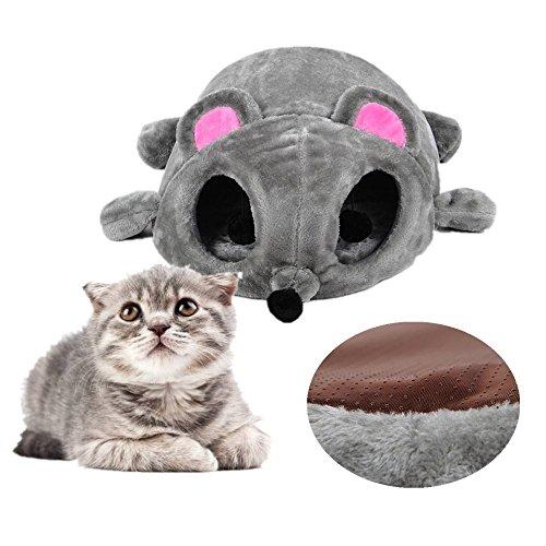 Kat grot bedden, JiSPEED huisdier slapen nest imitatie bont buis binnen kat huis Cartoon muis knuffel, met uitneembare mat, anti-slip bodem, perfect voor kat kitten, 50 x 40 x 21cm, grijs