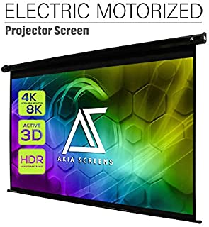 Akia Screens 110 inch Motorized Electric Remote Control Drop Down Projector Screen 16:9 8K 4K HD 3D Retractable Ceiling Wall Mount Black Projection Screen for Movie Home Theater Office AK-MOTORIZE110H
