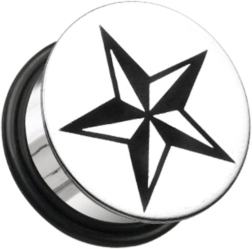 Covet Jewelry Nautical Star Hollow Back Single Flared Ear Gauge Plug