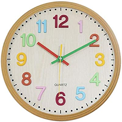 Foxtop Silent Non-Ticking Kids Wall Clock Large Decorative Battery Operated Colorful Clock for Living Room Bedroom School Classroom 12.5 Inch - Easy to Read (3D Numbers)