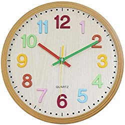 Foxtop Silent Kids Wall Clock 12 Inch Non-Ticking Battery Operated Colorful Decorative Clock for Children Nursery Room Bedroom School Classroom - Easy to Read (3D Numbers, 12 inch)