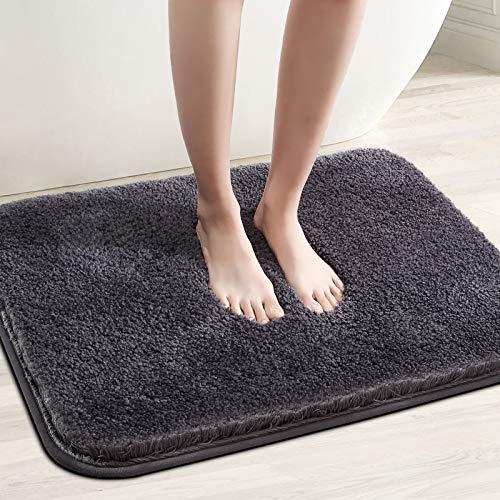 Color&Geometry rutschfeste Badematte 40 x 60 cm, Badteppich, Badvorleger, maschinenwaschbare Fußmatte Bodenmatte mit weicher Mikrofaser für Bad, Toilette, Küche, Schlafzimmer (Dunkelgrau)