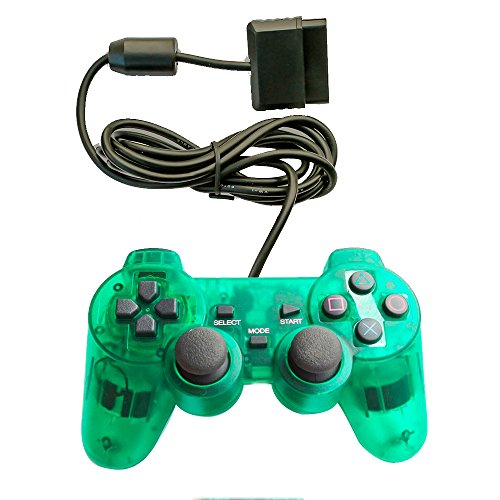 Saloke Wireless Gaming Controller for Ps2 Double Shock (Clear Green)