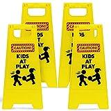 JOYIN 4 pcs Caution! Kids at Play! Warning Board Sign Kids Playing for Yards, Neighborhoods, Schools, Day Cares, Park & Street, Sidewalk, & Driveway