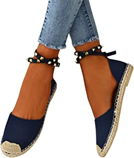 Shele Womens Tie Up Flat Espadrilles Sandals Suede Strap Ankle Wrap Classic Lace Up Shoes
