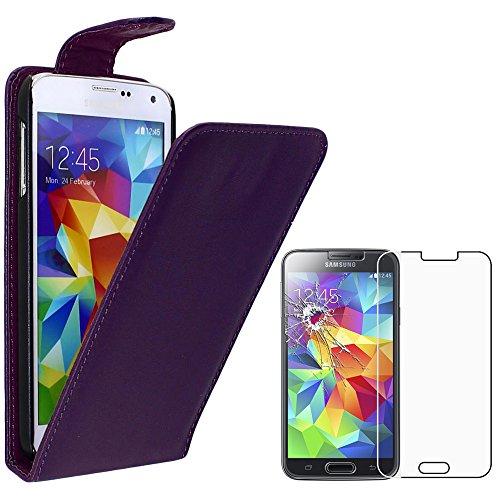 """ebestStar - Funda Compatible con Samsung S5 G900F, Galaxy S5 New G903F Neo Carcasa Abatible PU Cuero, Ultra Slim Case Cover, Violeta +Cristal Templado Pantalla [Aparato:142 x72.5 x8.1mm 5.1""""]"""