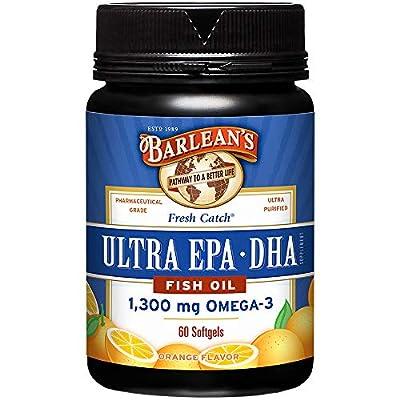 Barlean's Organic Oils Fresh Catch Fish Oil, Ultra EPA-DHA, Orange Flavor 1300 mg, 60 Softgels