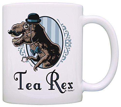 Tee Rex Tasse Lustig T-Rex Gentleman Tyranosaurus mit Monokel Schnurrbart Geschenk Kaffeetasse Teetasse Weiß