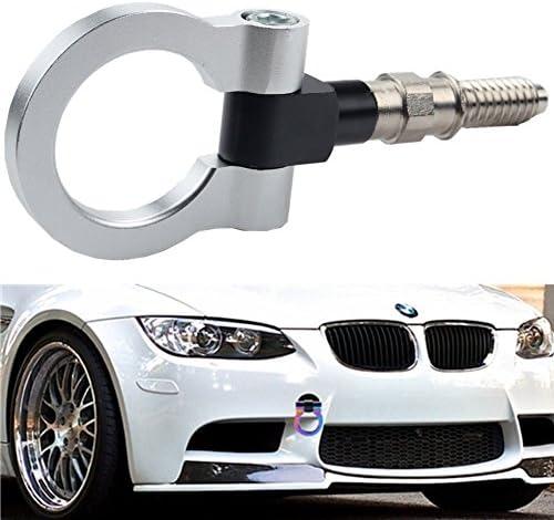 Dewhel Aluminum Track Racing Front Rear Bumper Car Accessories Auto Trailer Ring Eye Towing Tow Hook Kit Red compatible with BMW 1 3 5 Series X5 X6 E36 E39 E46 E82 E90 E91 E92 E93 E70 E71 Mini Cooper