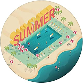 Coasters for Drinks | Absorbent Drink Coaster Decor (4-Piece Set) |,Isometric Summer Lettering Ocean and Swimming Pool Fun at Beach Umbrellas Ball