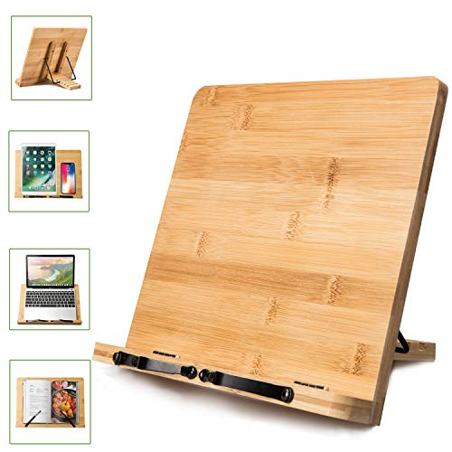 Large Bamboo Book Stand - 15.75 x 11.75 Inch Foldable Cookbook Holders and Stands with 5 Adjustable Height for Recipe Textbook Magazine Musicbooks