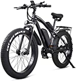 Electric Bike Electric Mountain Bike 26 Inch Electric Bike Mountain E-bike 21 Speed 48v Lithium Battery 4.0 Off-road 1000w Back Seat Electric Mountain Bike Bicycle for Adult,Blue for the jungle trails