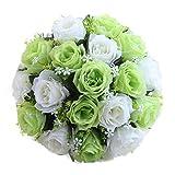 Nupcial Ramo De Flores, Han Shi artificial rosas de seda Flores Home Wedding Decor 18cabeza floral, H, 1