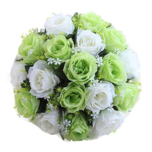 Ramo de novia Han Shi, rosas artificiales de seda para decoración del hogar, boda, 18 cabezas florales (S, H)