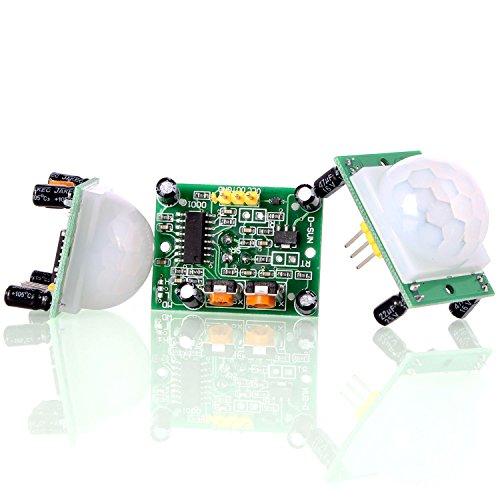 Neuftech 3pcs HC-SR501 PIR Módulo de Sensor de Motion por Infrarrojos Cuerpo Piroelectricidad para Arduino Raspberry Pi