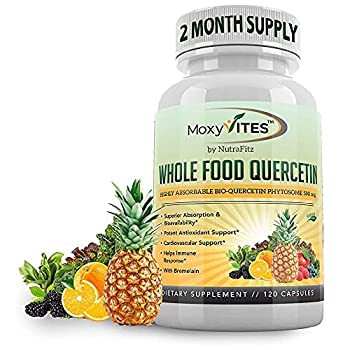 Quercetin 500mg with Bromelain Supplement Bioactive Phytosome Complex Pure Organic Whole Food Seasonal Support Healthy Inflammatory Response Antioxidant 20X Absorption & Bioavailability-120 Caps