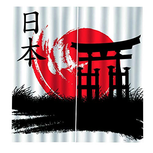 WEKUW Cortina Opaca Rojo 140X250 cm 2 Paneles, Arte Japonés 3D Impresión Cortinas, Aislantes Frio y Calor para Salón Dormitorio Oficina Moderna Decorativa Reducción de Ruido Cortinas