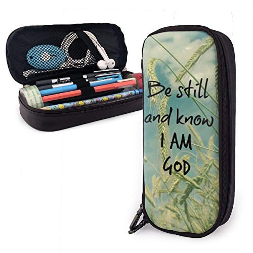 Be Still and Know I Am God Bible Verse 2 Leather Pencil Case Pouch Zippered Pen Box School Supply for Students Big Capacity Stationery Box Travel Makeup Pouch Bag for Girls Boys and Adults