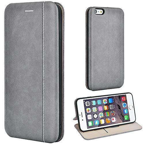 Leaum Handyhülle für Apple iPhone 6 Plus/6S Plus Hülle, Premium Leder Tasche Flip Schutzhülle (Grau)