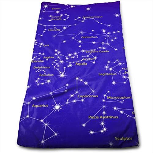 YudoHong Estrellas Signo del Zodiaco Cielo Nocturno Suavemente Absorbente Toallas de Mano Grandes