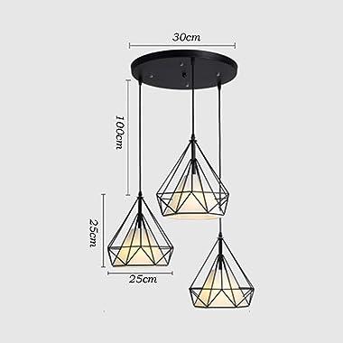 STOEX Hanging Cage Shape Diamond Contemporary 25cm Adjustable Rope Light Fixture Iron Chandelier Dining Room, Bar, Bedroom