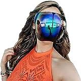 Almohadillas de nariz desmontables multicolores, gafas de sol grandes, grandes, grandes, de cara completa, polarizadas, grandes, visera completa, cubierta de cara completa para exteriores (azul hielo)