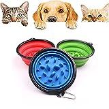 Cuenco para Perros Plegable,Perro de Mascota Slow Food Bowl,Cuenco de Comida Portátil,Plegable comedero Perro Gato,para Perro para Aire Libre Viaje Excursionismo Cámping(3 Piezas) (350ml)