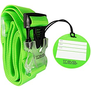 Luggage Strap + Matching TAG | BRIGHT COLORS Help Easily Identify Your Luggage:Comoparardefumar