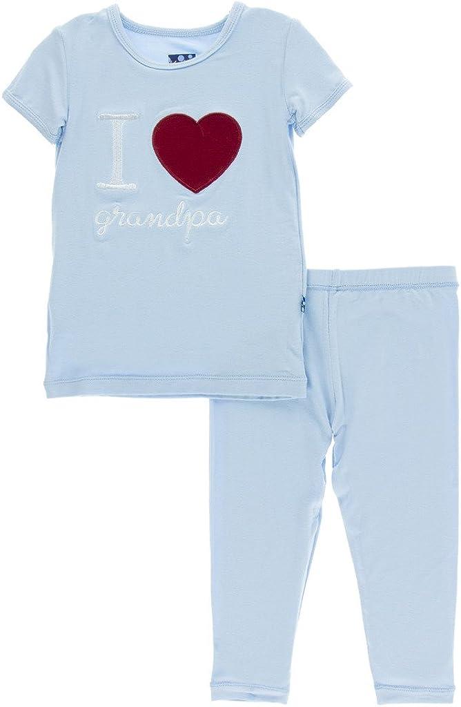 KicKee Pants Little Boys Holiday Short Sleeve Applique Pajama Set, Pond I Love Grandpa, Boys 5