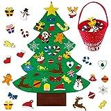Vistefly Árbol de Navidad de fieltro con 30 adornos para colgar en la pared, decoración de árbol de Navidad, regalo de Navidad para niños