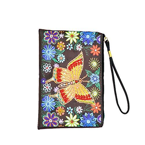 Bolso de Mano de Bricolaje para Mujer con Flor de Mariposa Pintura de Diamante DIY Bolso de Mano de Cuero para Mujer Monederos Bolso de Teléfono Bolso de Viaje Bolsa de Maquillaje 20x15cm