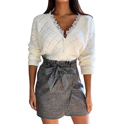 Geagodelia Maglione da Donna con Bottoni Scollo a V con Pizzo Tinta Unita Casual e Elegante Cardigan Sweater Invernale Sexy (Bianco, XL)