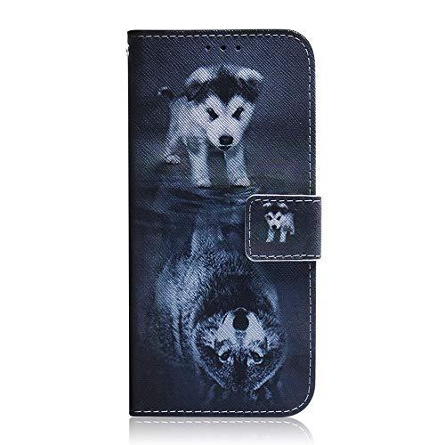 Sunrive Hülle Für Lg K9, Magnetisch Schaltfläche Ledertasche Schutzhülle Etui Leder Hülle Cover Handyhülle Tasche Schalen Lederhülle MEHRWEG(Wolf & H&)