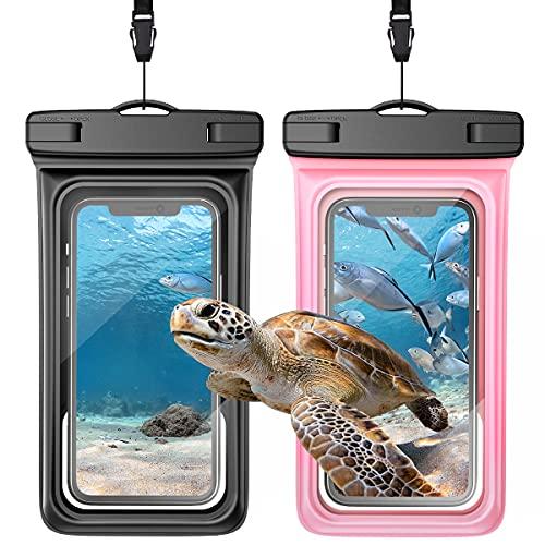 Yokata wasserdichte Handyhülle Schwimmend bis 6,5'' Wasserfeste IPX8 Wasserschutzhülle Handytasche Unterwasser Schwimmen für iPhone 12 11 Pro XR XS SE 8 7 6 Samsung S10 Huawei (2 Stück) Schwarz Rosa