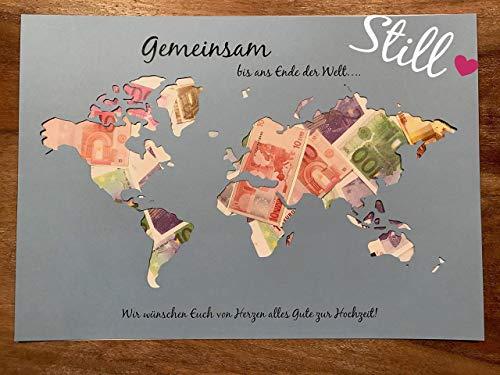 *Weltkarte* Geldgeschenk zur Hochzeit *Gemeinsam.von Herzen*