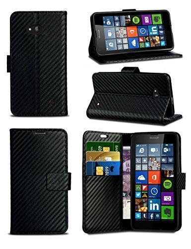 London Gadget Store For Motorola Moto E 2nd Gen 4G (2015) XT1505 XT1511 - Carbon Fibre Style Leather Wallet Flip Skin Case Cover with Screen Protector and Polishing Cloth in Black
