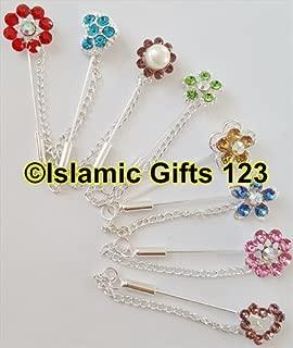 Rhinestone Muslim Hijab Pins (20) Islamic Scarf Safety Pins Mixed Colors Crystal Shawl Needle pin-Korean-Ramadan Decoration Distributor-Islamic Gifts 123 5 Days Delivery USA (Mix Colors)