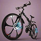 Folding Outroad Mountain Bike, 21 Speed 26 inch Folding Bike, Double Disc Brake Bicycles, for Men and Women(Black Red)