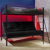 X Rocker Stronghold Triple Sleeper Gaming Bunk Bed with Futon Cushion Included, Metal Frame, Single 3ft High Bed, Double 4ft6 Futon Sofa Base, Kids Bedroom