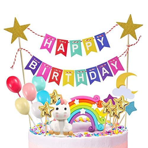 INTVN Licorne gâteau Décoration Décoration de gâteau d'anniversaire,Licorne Cake Toppers d'anniversaire Kit décoration,Arc-en-Ciel Gâteau,bannière Joyeux Anniversaire, Étoile Lune,Ballons Colorés